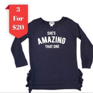 Old Navy Girls Knit Ruffle Long Sleeve Graphic Top